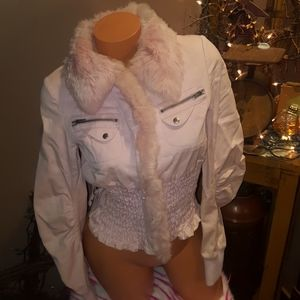 Rare Bebe real rabbit fur smocked coat S